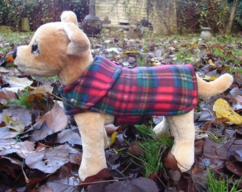 Red Tartan Plaid Fleece Dog Coat- Size XX Small- 8 to 10 Inch Back Length - Or Custom Size