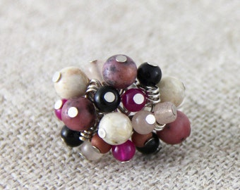Naturally Pink - Adjustable Stone Cluster Ring - Black Cream Ivory Mauve Dusty Rose Hot Pink Magenta Silver Cocktail Ring