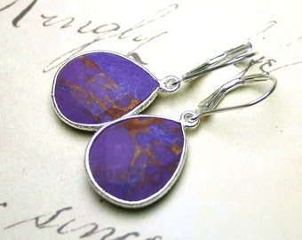Faceted Purple Turquoise Earrings - Genuine Turquoise Pear Shaped Earrings with Sterling Silver Leverbacks