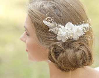 Wedding Hair accessories Wedding hair piece Flower hair comb Rustic Burlap Lace wedding Floral comb Rustic wedding headpieces