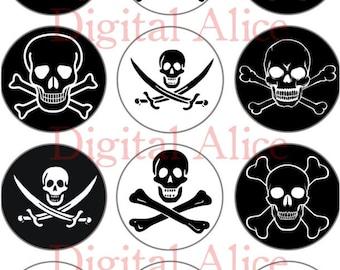 SKULLS Craft Circles - Halloween, Pirates, Poison- Instant Download Digital Printable-  -Bottlecaps Stickers Collage Sheet -  DiY Print