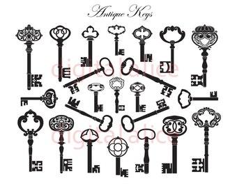 ANTIQUE KEYS - Digital Download - Collage Sheet Printable - KEY Chart--Jpg and Png format