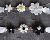 Triple Flower Necklace on Ribbon with Swarovski Crystals/Pearls by Kim Lugar