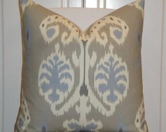 Decorative Pillow Cover - IKAT- Blue - Grey - Taupe - Sofa Pillow - Accent Pillow