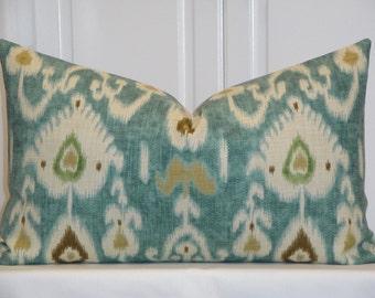 Decorative Pillow Cover -  IKAT - Throw Pillow - Accent Pillow - Kravet - Aqua - Green - Tan