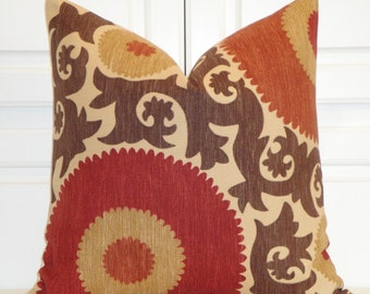 Decorative Pillow Cover - Fahri Clove - Suzani - Brown - Dark Red - Rust - Tan -