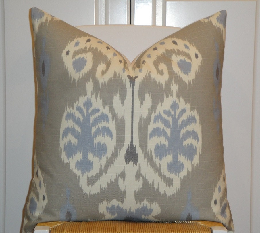 Throw Pillows For Taupe Couch : Decorative Pillow Cover IKAT Blue Grey Taupe Sofa