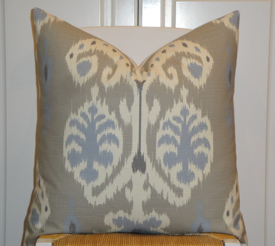 Throw Pillows For Taupe Sofa : Decorative Pillow Cover IKAT Blue Grey Taupe Sofa