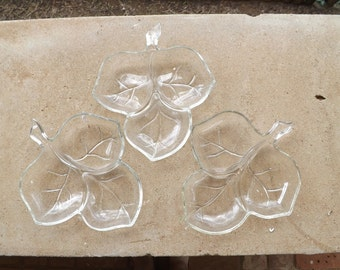 Glass Leaf Dish Set 3 Piece