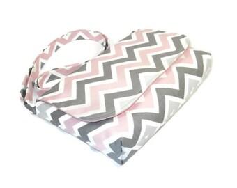 Small Crossbody Bag, Small Zig Zag Messenger Purse, Chevron Pocketbook - Pink and Gray Chevron Bag, Long Adjustable Strap