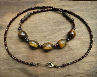 Rustic Tiger's Eye Necklace, golden brown and dark red beaded tigers eye stone pebble Bohemian jewelry