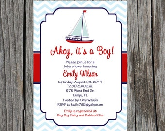 Nautical Baby Shower Invitation, sailboat, baby boy shower, sailboat baby shower, DIY, digital, printable