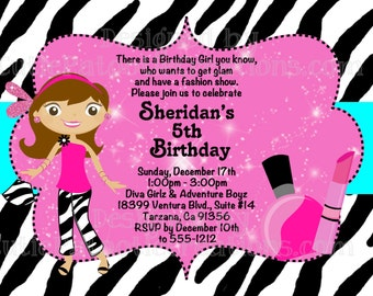 Glamour Girl Birthday Invitation - Printable or Printed - Fashion Runway Birthday Invitations, Party Supplies and Birthday T-Shirt