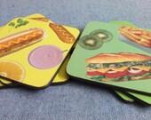 1980s Food Coasters