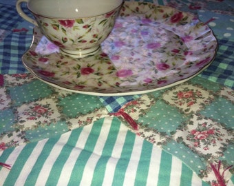 Vintage Rose Chintz Lefton China Snack Set 2 Pieces