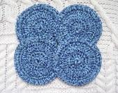 Cotton Exfoliating Pads Facial Scrubbies Blue Marl set of four
