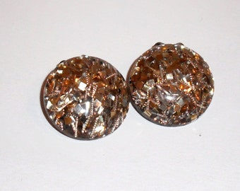 Gold Sparkle Lucite Button Clip On Earrings