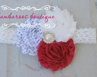 shabby chic baby headband, red headband, white headband, baby headband, vintage headband