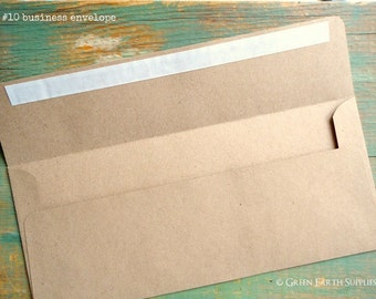 "50 Slimline Envelopes 3 7/8 x 8 7/8"" (98x225mm) OR #10 Business Envelopes 4 1/8 x 9 1/2"" (105x241mm) Kraft Brown, recycled bill envelopes"