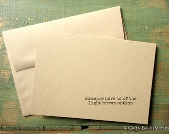 """50 A7 Folded Cards and Envelopes: Blank greeting cards, Kraft brown, light brown, 5 1/8 x 7"""" (130x178mm) or 5x7 cards, 80lb, 100lb or 105lb"""