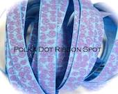 New Wonkie Swirls Glitter Grograin ribbon 5 yards- 3/8 inch Carolina Blue/grape Sparkle Swirls hair bow craft trim ribbon