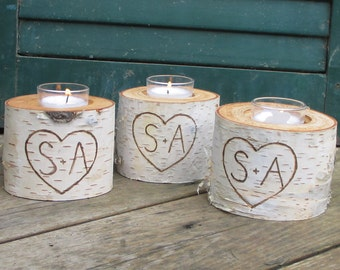 "10  Birch Bark Personalized VOTIVE CANDLE HOLDERS   3"" Tall Wedding Centerpieces,  Bridal Showers, Garden Party"