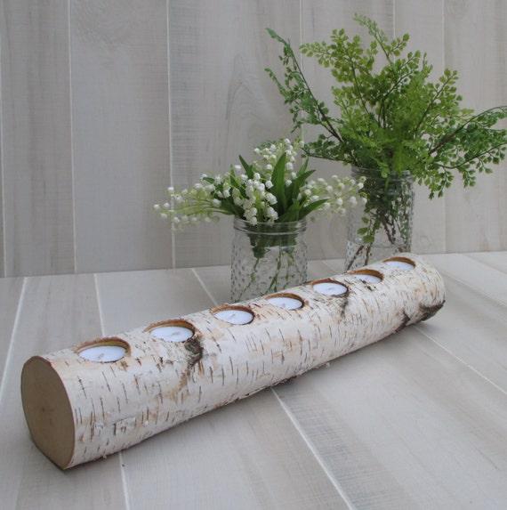 Birch Log Tea Light Candle Holder 22 Long by BirchHouseMarket