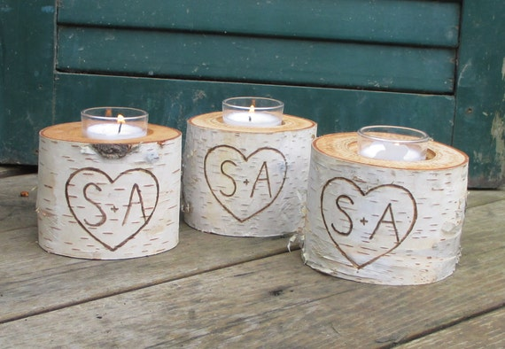 """10 Birch Bark Personalized VOTIVE CANDLE HOLDERS 3"""" Tall Wedding Centerpieces, Bridal Showers, Garden Party"""