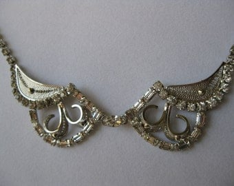 Vintage Hollywood Glamour Rhinestones Necklace and Screw Back Earrings