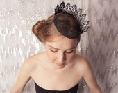 Black Fairy tale Lace Crown - gothic, princess, queen, halloween costume