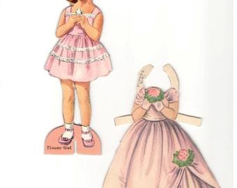 """Vintage Paper Doll Set, """"Flower Girl"""", 1950's Collectible Paper Ephemera,Vintage Toy, Paper Doll, Toy's & Games, Fashion Doll Set"""