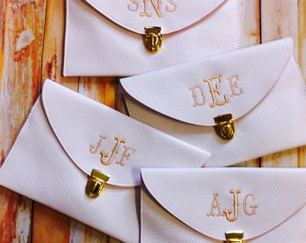 8 Monogrammed Leather Envelope Clutch Clutches