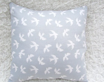 Square Decorative Pillow-Grey and White Birds, Features a Removable Cover 14inx14in.