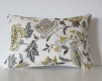 Schumacher chartreuse white linen bird floral designer lumbar pillow cover