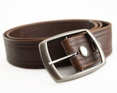 Brown Vegan Belt, Double Stitch, Classic aged vintage look