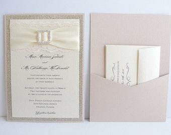 Wedding Invitation, Wedding invite, Lace Wedding Invite, Lace Invitation, Glitter Wedding Invite, Blush Pink Wedding Invite COCO-FLIP BROOCH