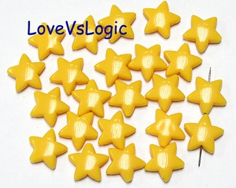 30 Puff Star Acrylic Bead. Yellow