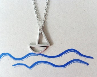 boat pendant necklace, nautical silver necklace