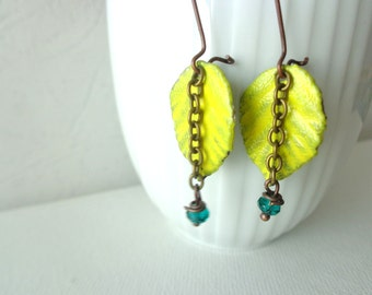 Yellow emerald green leaf earrings