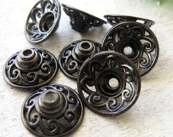 Large 15mm Gunmetal BLACK Scroll, Filigree Bead Caps Tibetan Style, TEN, MORE Colors