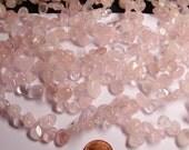Rose quartz  Gemstone - briolette - pebble-  nugget - chip stone -  bead  -full strand -