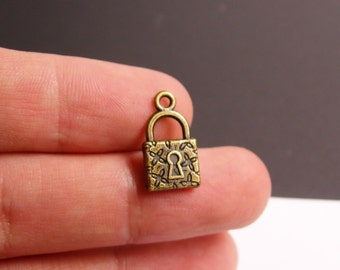 12 pcs antique brass lock charms two sided - lock charms - ZAB2