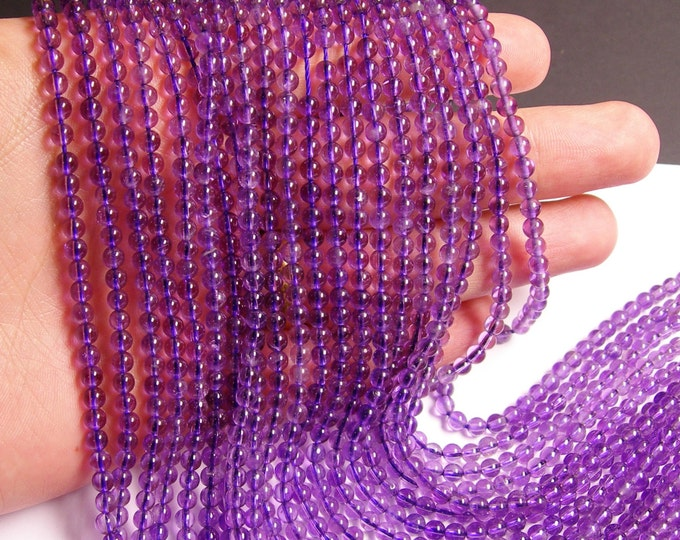 Amethyst - 3mm round - 123 beads - full strand - A quality