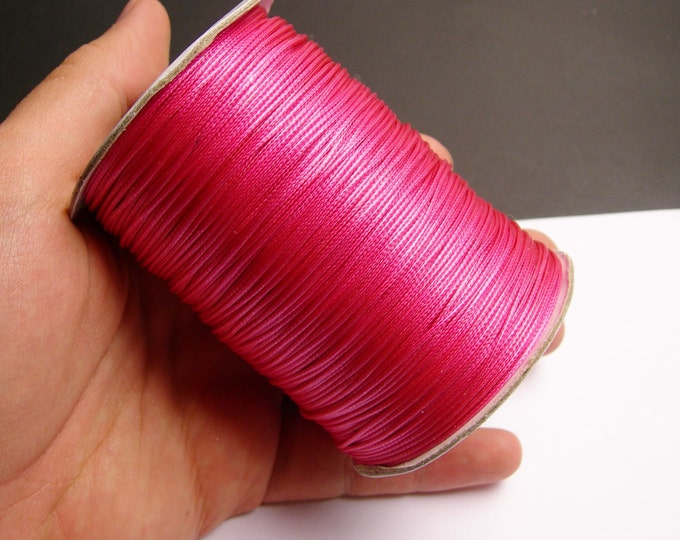 Polyester wax cord - 1mm - high quality - 160 meter - 524 foot - hot pink magenta - full roll -  PEC7