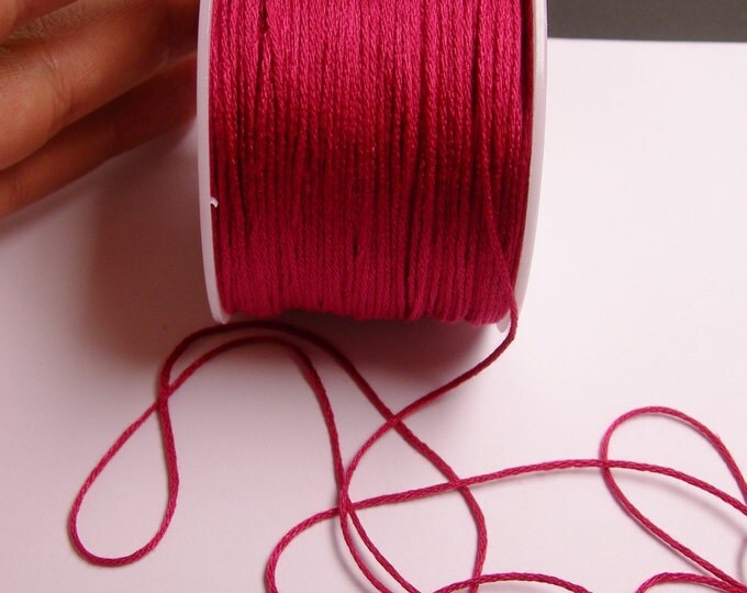 Cotton Cord - knotting - embroidery cord - 1mm - 120 meter - 390 foot - megenta - CTN16