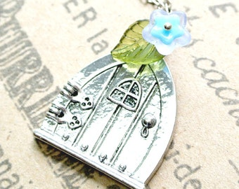 Door Pendant with Blue Flower Necklace,Fairy Wish Door Necklace
