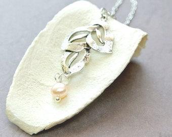 Leaf Necklace, Leaves Necklace, Leaf Pendant Necklace, Silver Leaf Necklace, Simple Necklace