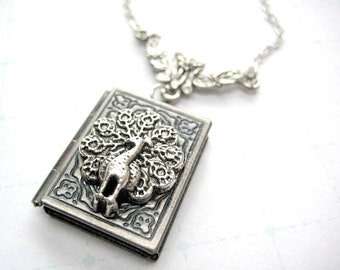 Peacock locket necklace gift for her- Book locket necklace for book lover gift-Miniature book for librarian gift-Silver locket necklace