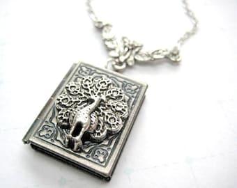 Peacock Locket Necklace, Book Locket Necklace, Bird Locket Necklace,Peacock Pendant Necklace