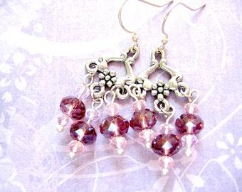 Flower Chandelier Earrings,Purple and Pink Earrings, Silver Dangle Earrings